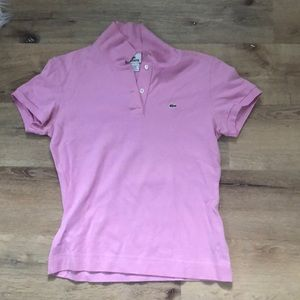 Women's Lacoste Baby Pink Polo Shirt - Size 8